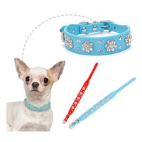 Dog Collars & Leashes Bling Rhinestone Puppy Diamond Personalized Leather Adjustable Collar Necklace For Small Medium Dogs