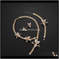 Armband Sets Drop Lieferung 2021 Armband Ohrringe Halskette 3 Stück Luxus übertriebene Strass Blumen 18 Karat vergoldet Hochzeit Schmuck Set