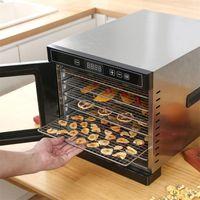 디지털 온도 가정용 식품 탈수기 건조기 기계 육포 고기 허브 과일 6 스테인레스 스틸 트레이