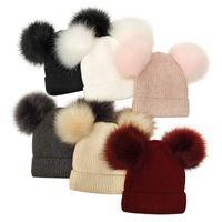 Winter Spring Autumn Hat For Parent Children Knit Beanie Pompom Women Man Baby Crochet Double Ball Warm Pom Caps 6 colors Z4338