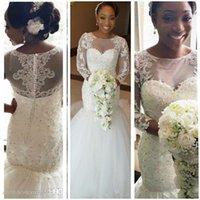 2017 African Long Sleeves Lace Mermaid Wedding Dresses with Court Train Appliques Sheer Crew Neck Plus Size Wedding Gowns Vestidos de Novia
