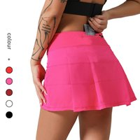 Luxury Women's Tracksuits Yoga Cloth Multicolor Pleated Yoga Female Same Sports Tennis Skirt with Pockets