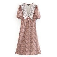 캐주얼 드레스 여성 꽃 프린트 보헤미안 비치 ES 빈티지 옷깃 넥 짧은 소매 미디 봄 여름 Boho 휴가 파티 8LCF