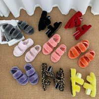 New fuzz wedges oh fluff yeah slides slippers fur sandale with fluffy furry women slippers shoes elastic tie slippers platform pantou