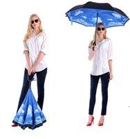Dobrável Guarda-chuva Reversa 52 Estilos Dupla Camada Invertida Longa Punho à prova de vento Rain Guarda-chuvas C Lidar com guarda-chuvas FWD9206