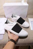 Designer Urban Street Sapatos Branco Tênis de Couro Treinadores Tecidos de Tecido Stretch Slip-on Sapatilhas Com Correias Elasticadas Logotipo Gráfico de Marca Emblazoned Sapato Casual