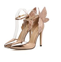 София Webster Evangeine Evangeline Angel-Wing Highs Scool Sandal Butterfly Rhinestone Clined Кожаные сандалии с Fine 11CM каблуки обувь