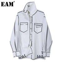[EAM] Frauen Weiß Muster Gedruckt Große Größe Bluse Neue Revers Langarm Lose Fit Hemd Mode Gezeiten Frühling Herbst 2021 1DD0074