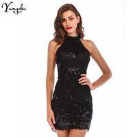 Seksi Sequins Yaz Elbise Kadın Köpüklü Düz Siyah Bodycon Parti Elbise Gece Kulübü Ofis Elbiseleri Zarif Vestidos Giysileri New1