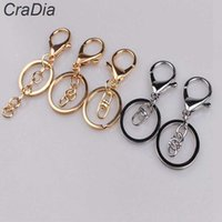 100pcs Lobster Clasp Keychain 30mm Round Hook Keyring Golden Silver-plate Key Chains for Jewelry Making Charms H0915