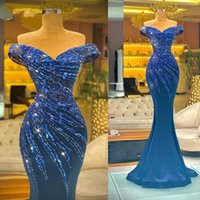 Modest Kosovo Evening Dresses Women Party Night 2021 Beading Mermaid Prom Dress Off the Shoulder vestido De Fiesta Boda