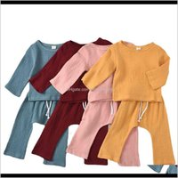 Sets Clothing Baby, Kids & Maternity Drop Delivery 2021 Summer Baby Toddler Solid Color Long Sleeve Top Trousers Two Piece Boys And Girls Sui