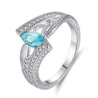 Luxury Sea Blue Horse Eye Zircon Crystal Finger Anelli per le donne Ladies Girls Engagement Wedding Party Gioielli Bague Femme Anel