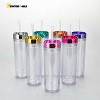DHL 16oz oz 스트레이트 더블 레이어 플라스틱 투명 컵 짚 물 컵 커피 컵 선물 FY4611FA23