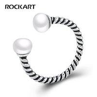 Натуральное пресноводное жемчужное кольцо стерлингового серебра 925 стерлингового серебра Витая веревка в стиле ретро Античный смотря регулировки прохладных панкных колец