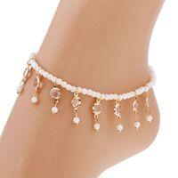 Anklets Vintage Pearl Tassel Crystal Women Girl Beach Shoe Boots Chain Foot Leg Bracelet Pendant Jewelry Ethnic Accessory