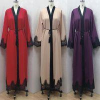 İslami Giyim Etnik Kadınlar Abayas Bornoz Arapça Dubai Musulman De Mode Kaftan Marosain Mütevazı Müslüman Elbise Moda