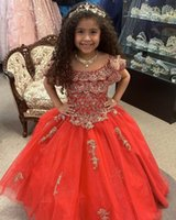 Red and Gold Embroidery Girls Pageant Prom Dresses off the Shoulder with Sleeve BallGown Long Glitter Sequined Tulle Ruched Flower Girl First Communion Dress