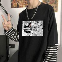 Harajuku Anime Haikyuu Manga Tişört Karikatür Voleybol Genç Liseli Grafikler Siyah Beyaz Çizgili Üstleri Sahte İki T-Shirt Erkekler