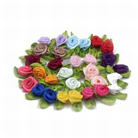 Sewing Notions 1000pcs pack Small Mini Satin Ribbon Rose Buds Flowers With Green Leaves Crafting, Sewing, Doll's Clothing 1.5mm