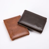 Retro Thin Wallet High Quality Leather Luxury Mens Business Card Holder Short One-Fold Leather Card Case Wallets Coin Purse