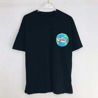 디자이너 망 티셔츠 패션 클래식 모든 일치 짧은 소매 100 % 코튼 여름 브랜드 캐주얼 편지 상어 인쇄 패턴 3 색 도매