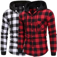 Men's Casual Shirts Autumn Fashion Plaid Long Sleeve Cotton High Quality Pullover Hooded Shirt Winter Mens Top Blouse