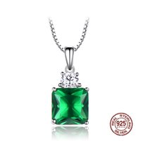 High Grade 100% Real S925 Sterling Silver Wedding Necklace Jadeite Pendent Square Emerald Fine Jewelry Neck Chain Accessories Ornament
