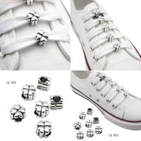 12pcs Sholace 버클 슈 구두 장식 금속 네 잎 클로버 DIY 클립 링 매력 신발 끈 선물 액세서리 소모품 끈 SH 210728