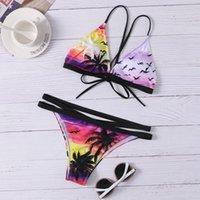 Kadın Mayo Bsexy Bandaj Bikini 2021 Baskı Hindistan Cevizi Ağacı Mikro Biquini May Sandra Mini Mayo Tanga Plaj Mayo