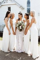2022 Cheap Simple Bohemian Sheath Bridesmaid Dresses Front Slit Spaghetti Straps Beach Wedding Guest Dresses Maid of Honor Gowns Boho Robes