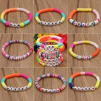 Link, Chain DIY Letter Polymer Clay Bracelet For Women Handmade Beads Charm Femme Jewelry