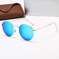 Classic Round Sunglasses de sol de diseño UV400 Gafas de oro Metal Marco de oro Gafas de sol Hombres espejo 3447 Gafas de sol Polaroid Moda Lente de cristal 12 Color