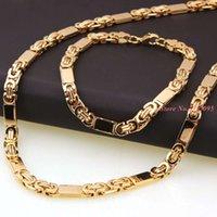 6Mm 55Cm 22Cm Set Men's Bracelet Byzantine Link Chain Gold Tone Rvs Bangle Women punk Rock Jewels Cool Poison