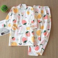 Ropa de dormir de las mujeres siete manga estilo japonés kimono pijamas fijado mujer primavera y otoño 100% gasa de gasa ropa linda dulce dos
