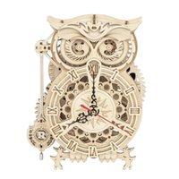 Robotime ROKR 3D Puzzle de madera Owl Reloj Modelo Kit de construcción Juguetes para niños Niños Boys LK503 210909