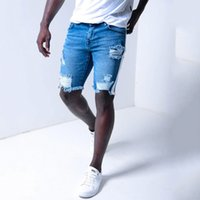 Moda 2021 Avrupa deldi erkek şerit denim şort DK047