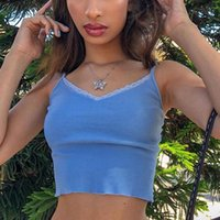 Women's Tanks & Camis Women Y2k Tops Spaghetti Strap V-neck Lace Trim Crop Summer Fashion Ribbed Backless Streetwear Tank Top 2021