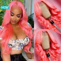 Lace Wigs Pink Grey Green Colored Human Hair For Women HD Part Wig Brazilian Remy Body Wave Transparent Eq