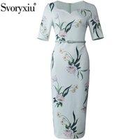 Günlük Elbiseler Svoryxiu Tasarımcı Moda Bahar Yaz Bodycon Midi Elbise kadın Yarım Kollu Çiçek Baskı Zarif Beyaz Ofis Bayan