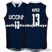 Tomada de fábrica Connecticut Huskies # 13 Shabazz Napier Basketball jerseys branco marinho azul bordado costurado personalizado personalizado Qualquer tamanho na