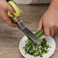 Ferramentas de Cozinha de Aço Inoxidável Acessórios de Cozinha Facas 5 Camadas Tesouras Sushi Shredded Scallion Cut Herb Scissor HWF6359