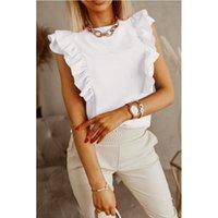 Yaz Kadın T Gömlek Seksi Kısa Kollu Katı Ruffles Gevşek Zarif Vintage Rahat Artı Boyutu Üst Tee Streetwear Vetement Femme Kadın T-Shir