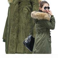 Mecebom Fashion Automne Chaucheuse Hiver Vestes Femmes Collier De Fourrure Longue Parka Plus Taille Taille Coton Coton Coton Womens Outwear Park 1223C S18101103