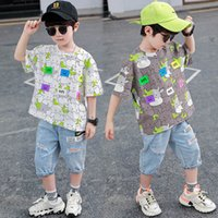 Boys Clothing Sets Boy Suits Kids Outfits Children Clothes Summer Cotton Cartoon Short Sleeve T-shirts Hole Shorts Pants Jeans Casual 2Pcs 3-8Y B5184
