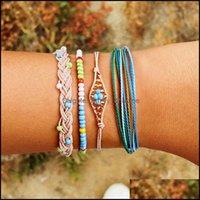 Charm Jewelrycharm Bracelets 4Pcs Set Fashion Personality Bohemian Handwoven Rope Mticolor Bracelet Ladies Jewelry For Women Gift Wholesale