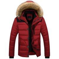 メンズダウンパーカーウィンタージャケット男性厚いフード付き毛皮襟パーカーメンズフリースコート暖かい衣料品オーバーコート5xl 6xl