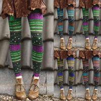 Women's Leggings Ladies Ethnic Style Striped Print Elastic Tights All-match Boots Pants Casual Women Folk-custom Printed