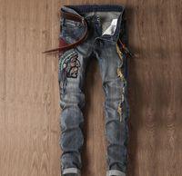 Moda Vintage Hombres Largas Jeans Bordado Patrón de Bordado Denim Street Cowboy Juvenil Stretch Slim Slim Hip Hop Pantalones