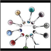 & Bell Jewelrysteel Belly Button Navel Rings Crystal Rhinestone Body Piercing Bars Jewlery For Womens Bikini Fashion Jewelry Ps2014 Drop Deli